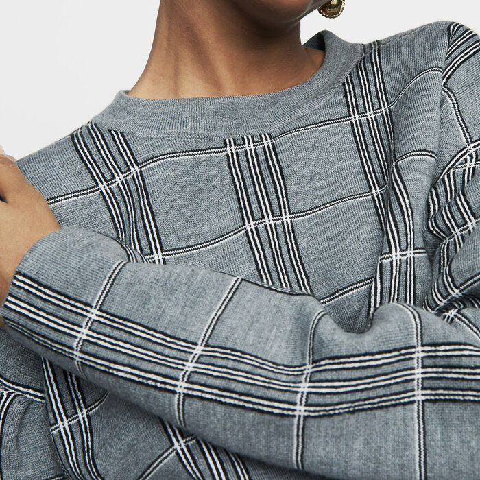 Pull oversize en maille jacquard : Nouvelle Collection couleur CARREAUX