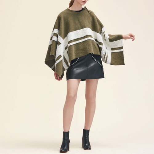 Poncho with a mix of fabrics : Accessoires color Khaki