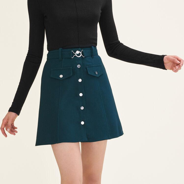 Jupe trapèze avec ceinture à boucle : Jupes & Shorts couleur Vert
