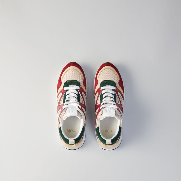 W22 mixed material sneakers : Sneakers color GREEN