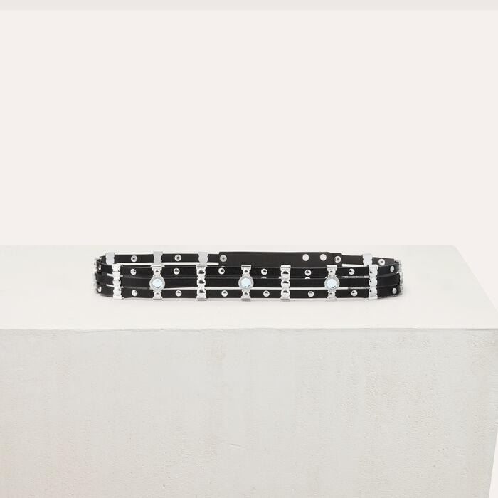 Ceinture en cuir avec studs et strass : Ceintures couleur Black