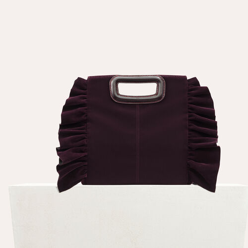 Frilled velvet M bag : See all color BORDEAUX