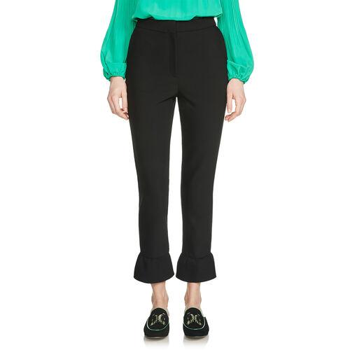 Pantalon droit avec détails volantés : Pantalons & Jeans couleur Black