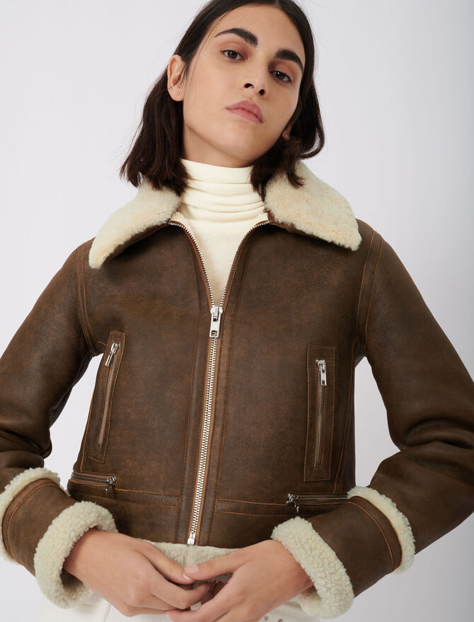 Leather and fur-effect jacket - First stone selection - MAJE