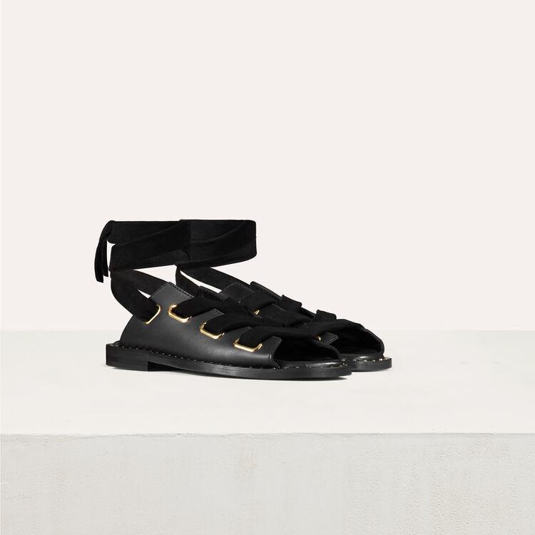 Sandales plates en cuir à nouer : Chaussures couleur Black