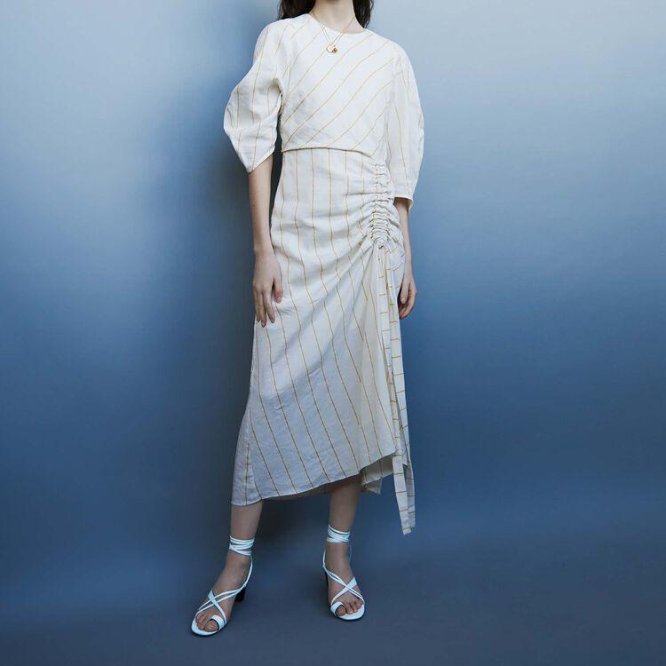 Robe longue en lin rayé : Robes couleur ECRU