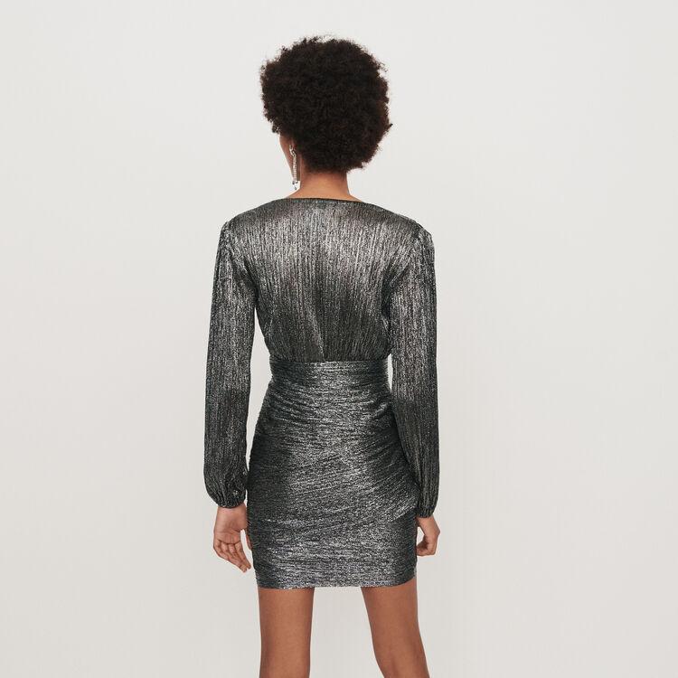 Lurex draped dress : Dresses color Silver