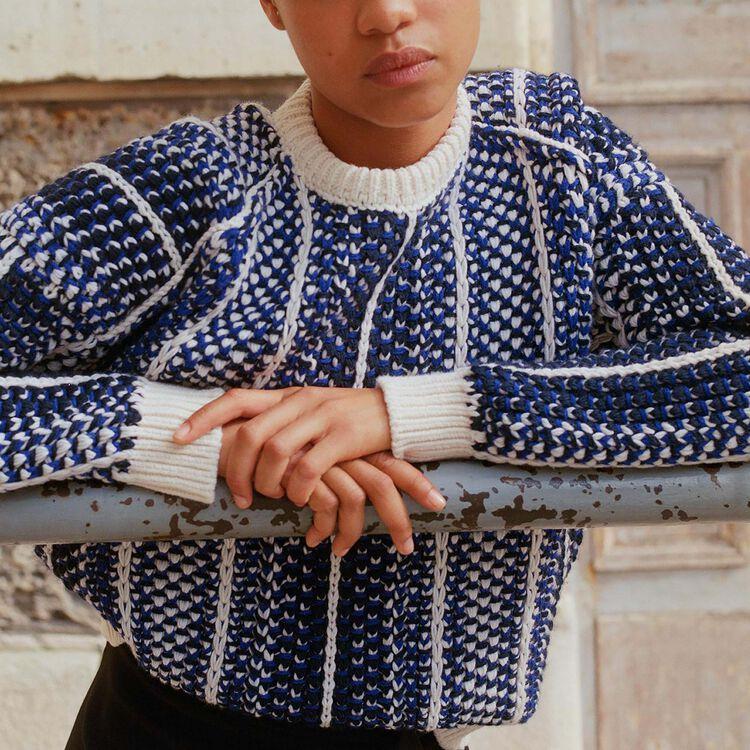 Pull en maille jacquard : Maille couleur Bleu