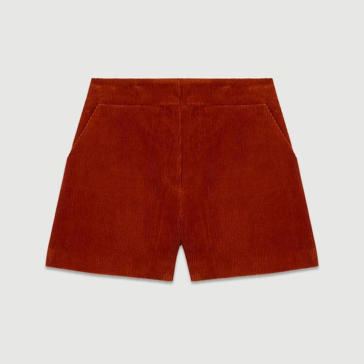 Short en velours côtelé : Jupes & Shorts couleur Caramel