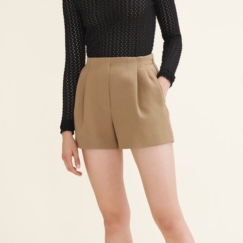 Cotton blend shorts : Skirts & Shorts color Camel