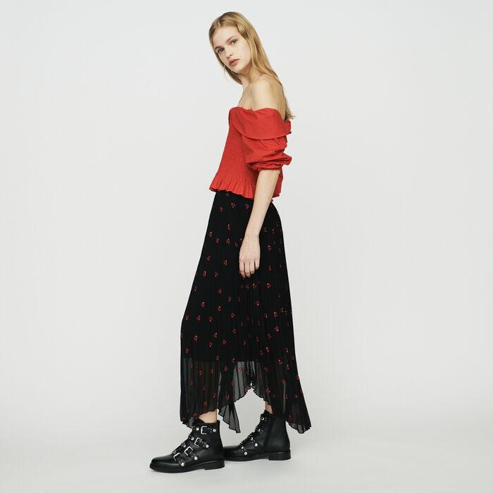 Jupe longue plissée avec broderies : Jupes & Shorts couleur BLACK