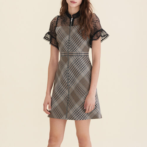 Short dual-material dress : Dresses color Jacquard