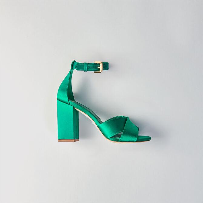 Sandales à talon et bride en satin -  - MAJE