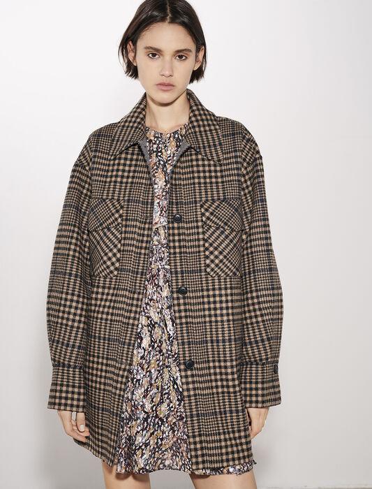 Manteau en double face à carreaux : Manteaux & Blousons couleur Camel