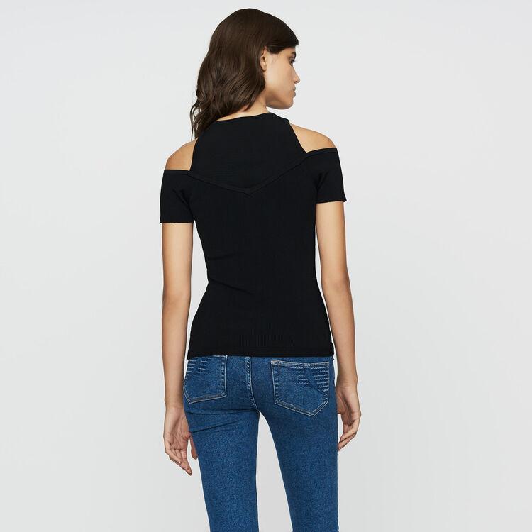 Tee-shirt en maille à épaules dénudées : Maille couleur Black