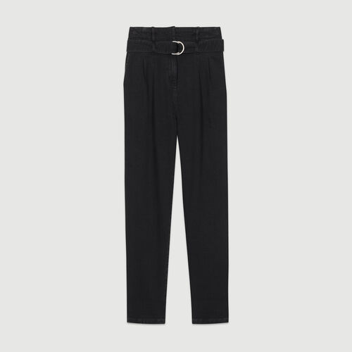 Pantalon à pinces en denim : Pantalons couleur BLACK