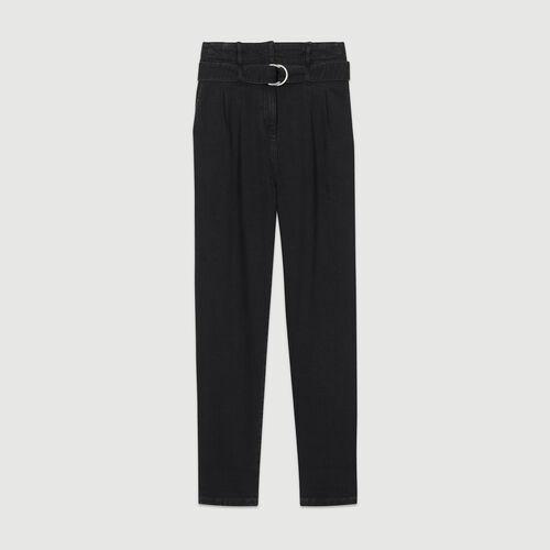 Pantalon à pinces en denim : Pantalons couleur BLACK