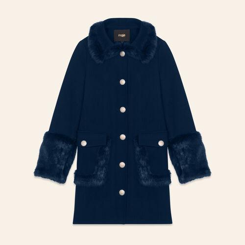 Manteau droit en laine mélangée et lapin : Manteaux couleur BLEU