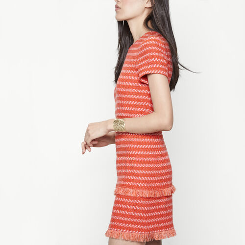 Short jacquard dress with smocking : Dresses color Terracota Tiles