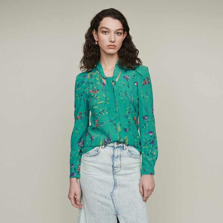 Printed blouse with lavaliere : Tops & Shirts color Printed
