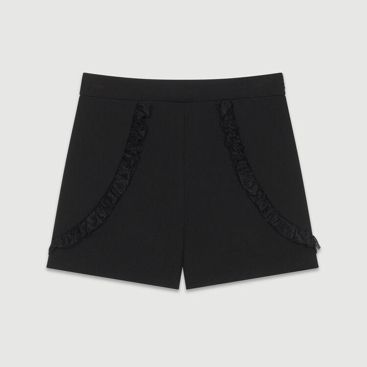 Short en dentelle : Jupes & Shorts couleur Black