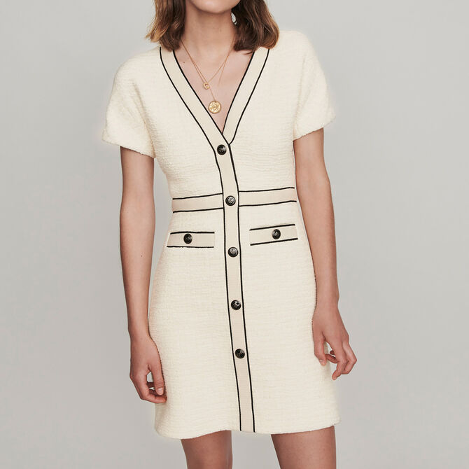 Tweed-style contrast dress - See all - MAJE