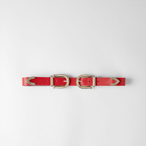 High-waisted double buckle belt : Belts color Red