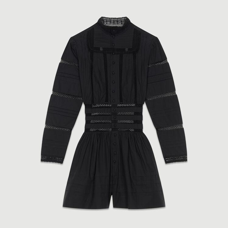 Combi-short en popeline brodée : Combinaisons couleur Black