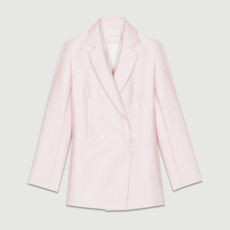 Blazer en tissu satiné : Vestes couleur Rose