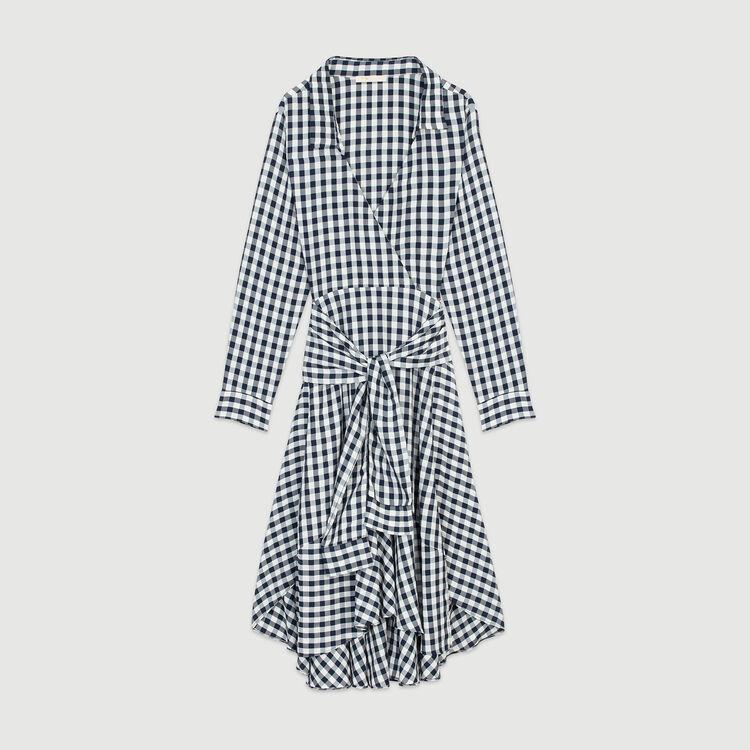 Midi shirt dress in vichy print : Dresses color CARREAUX