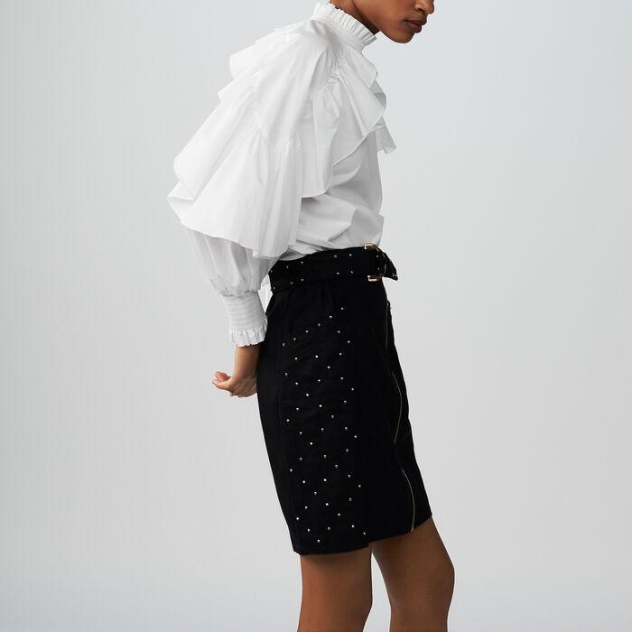 Jupe courte avec studs et broderies : Jupes & Shorts couleur BLEU NUIT