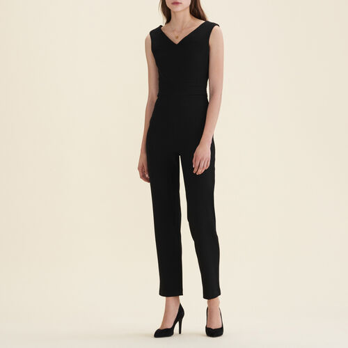 Sleeveless crêpe jumpsuit : See all color Black 210