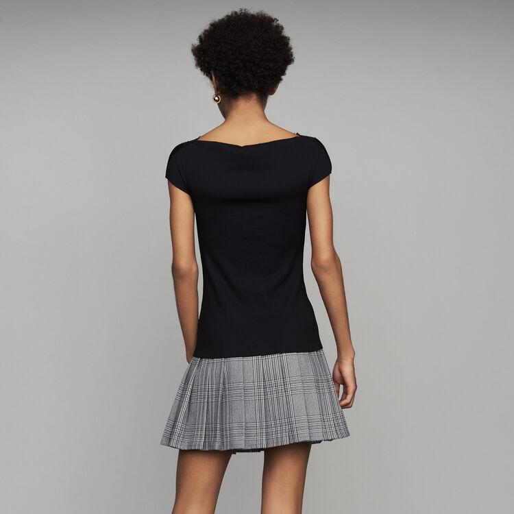 Top côtelé avec dentelle : SoldesUK-All couleur Black