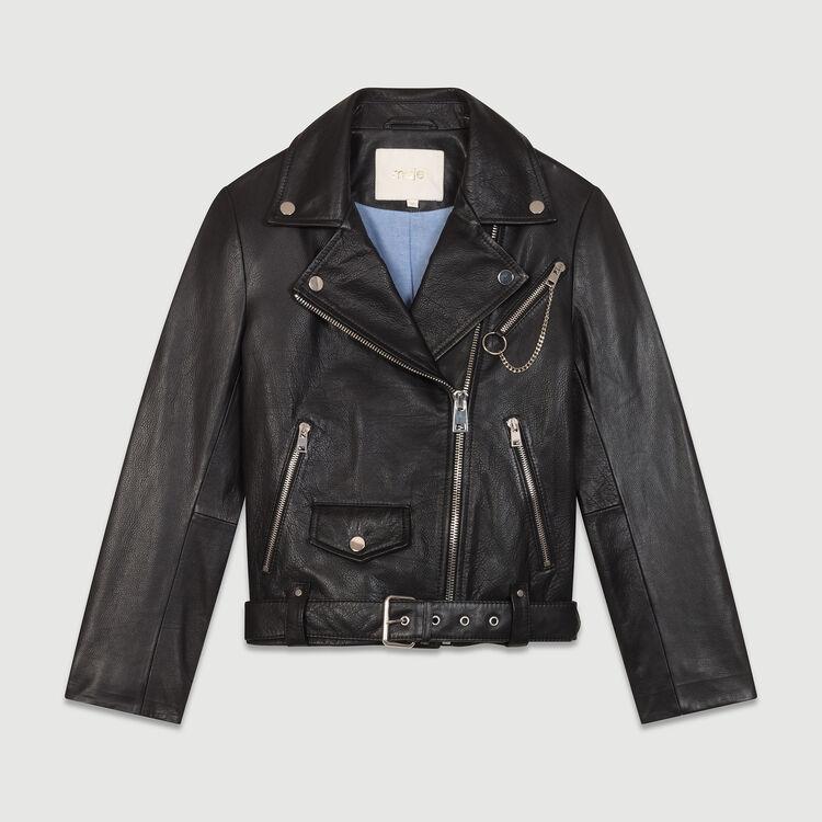 Blouson en cuir type biker : Blousons couleur Black