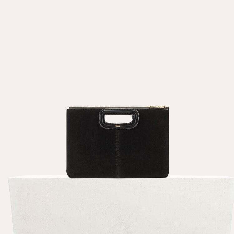 Pochette M Duo en suède avec œillets : Cuir couleur BLACK