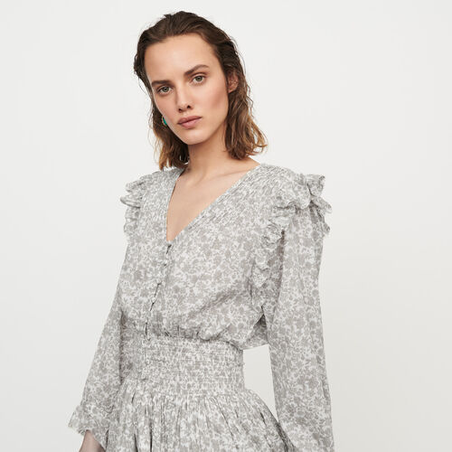 Robe courte florale à volants et smocks : Robes couleur Gris