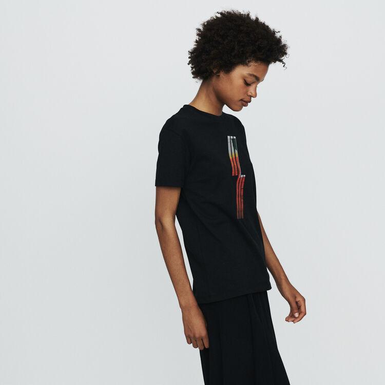 Tee-shirt avec broderie sérigraphiée : T-Shirts couleur Black