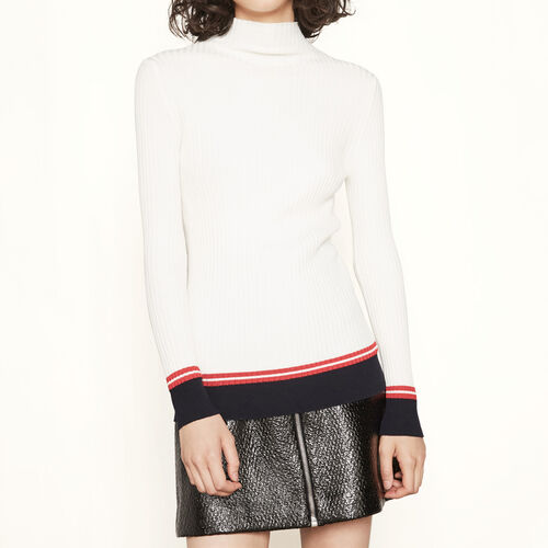 Ribbed knit jumper with bands : Sweaters & Cardigans color Two-Tone