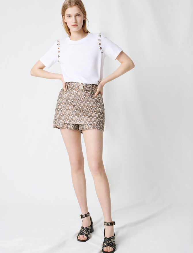 Short en jacquard avec ceinture amovible - Jupes & Shorts - MAJE