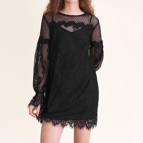 Robe courte en dentelle et plumetis : Voir tout couleur Black