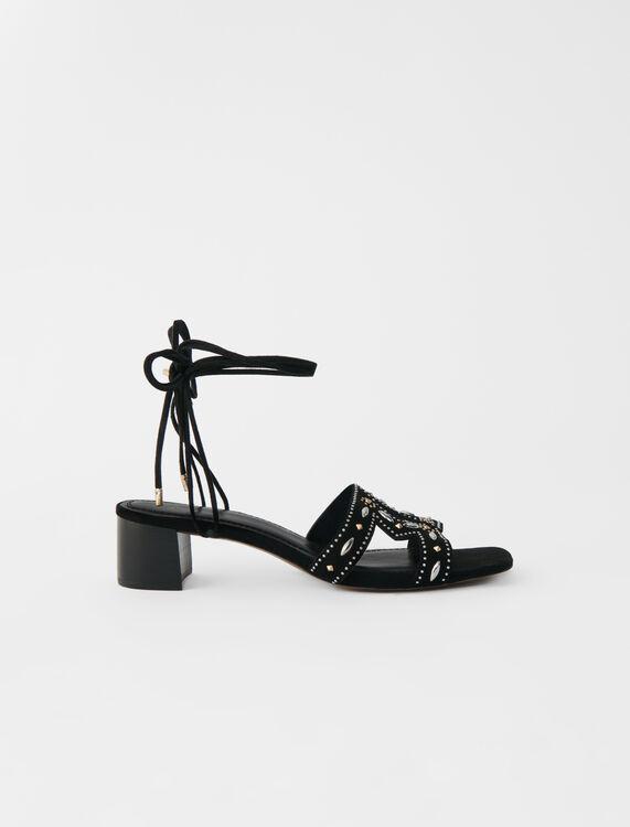 Sandales petit talon à nouer avec studs - LastchanceIT_30 - MAJE