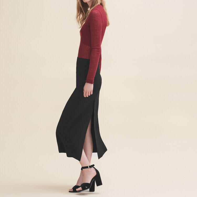 Jupe longue en crêpe : Jupes & Shorts couleur Black