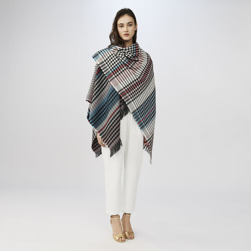 Multicolored houndstooth poncho : Shawls & Ponchos color Multico