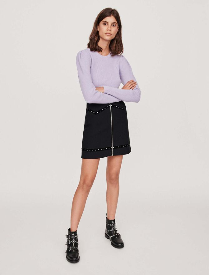 Studded pencil skirt with velvet trim - Skirts & Shorts - MAJE