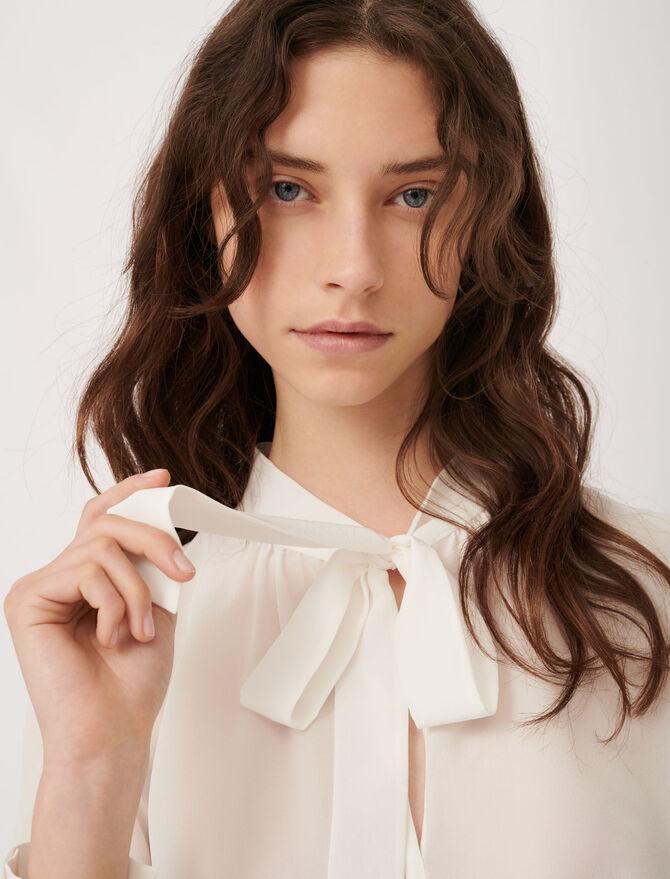 Top à lavallière en soie - Tops & Chemises - MAJE