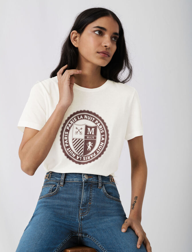 Tee-shirt façon collège sérigraphié -  - MAJE