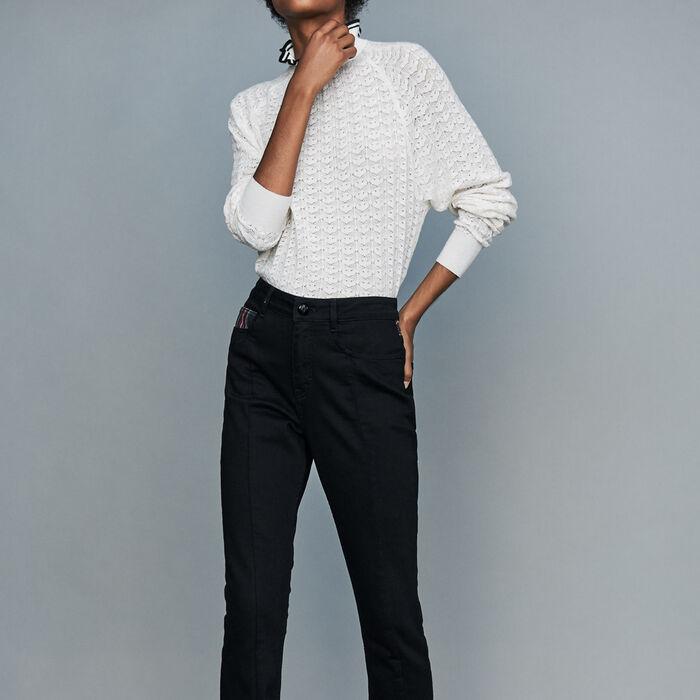 Jean droit avec détail tartan : Jeans couleur Black