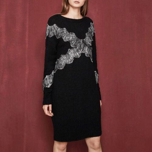 Robe en maille avec dentelle incrustée : Robes couleur Black
