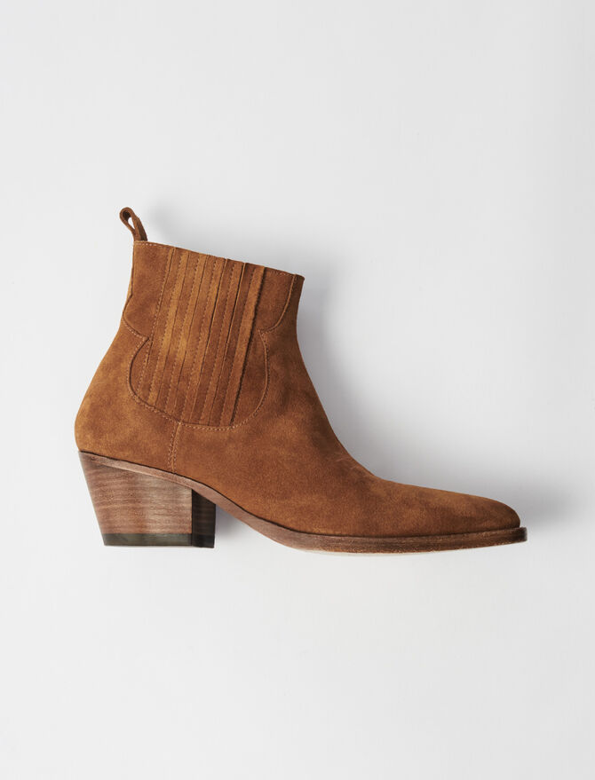 Suede Cowboy Boots - All Shoes - MAJE