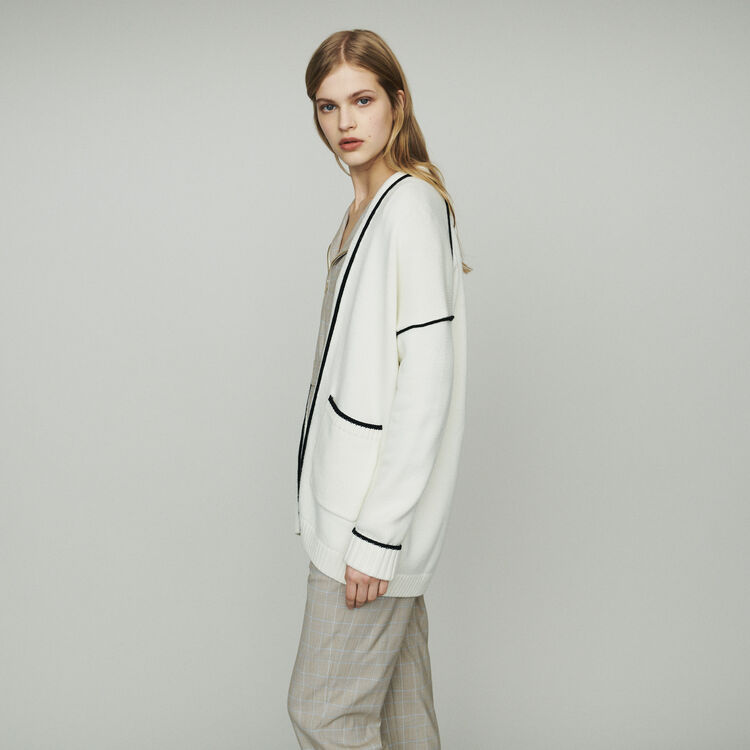 Mid-length cardigan with edges : Pullovers & Cardigans color Ecru
